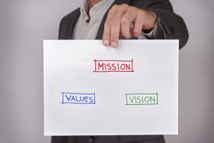 vision, mission, values.